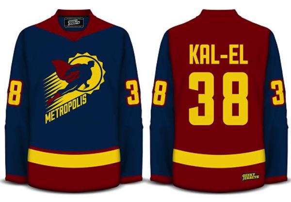 camiseta de hockey do super homem
